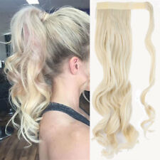 100% Natural Wrap Around Ponytail Clip In Hair Extensions Wavy Bleach Blonde ZE3
