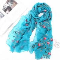 Women Lady Silk Floral Print Scarf Neck Shawl Flower Printed Long Soft Wrap