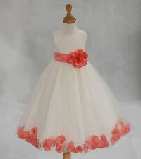 FLOWER GIRL DRESS Toddler Birthday Bridesmaid red blue ivory yellow ROSE PETAL