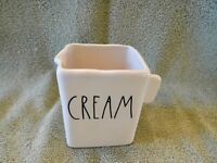 Rae Dunn Artisan Collection CREAM Square Creamer Pitcher Ivory Black Letters 181