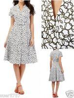 NEW Jasper Conran Ladies White & Khaki Circle Print Summer Tea Dress Size 8 - 18