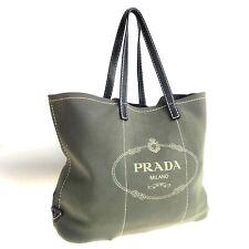 PRADA nylon tote bag green used 1642-10T89