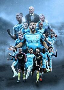 MANCHESTER CITY POSTER Wall Art Print Pic Photo Poster A4 A3