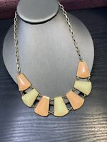 "Vintage Peach Pale Cream large bib statement necklace 16"" Inches Long"