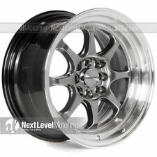 Circuit CP25 16x8.5 4-100 4-114.3 +22 Hyper Black Wheels Fits Honda Civic EK EG