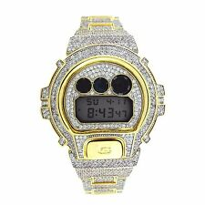 14K Gold Plated CASIO GSHOCK DW6900 FULL ICED OUT White Lab Diamond 15CT