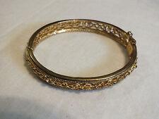 Beautiful Clasp Bracelet Gold Tone Filigree 2 1/4 x 3/8 W Safety Signed AVLN NR