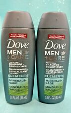 2 Dove MEN CARE Fortifying 2in1 SHAMPOO + CONDITIONER Minerals Sage TRAVEL 1.8oz