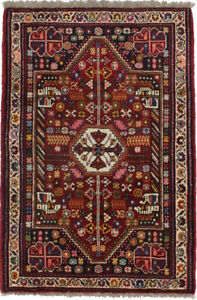 Hand-Knotted Tribal Small 3'5X5'2 Vintage Style Oriental Rug Farmhouse Carpet