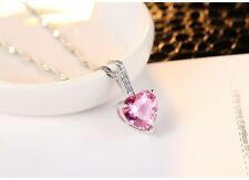 "18"" Sterling Silver Heart Cut Created Pink Zirconia Pendant Necklace Gift Box A9"