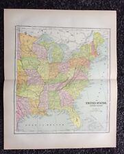 Vintage Original Map 1897 Eastern United States, Eaton & Mains