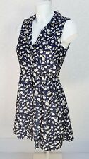 MISO floral navy blue white sleeveless Classic collar Mini skater flare dress 8