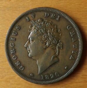 British Georgian One Penny Coin 1826 About EF Grade Great Example.