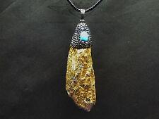 Lederkette mit Titanium Druse, gold, Fassung Swarovski-Elements, Chakra,Türkis