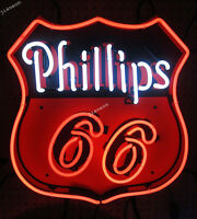 """24""""X20"""" Phillips 66 Motor Oils Gas Station Gasoline Real Glass Neon Sign Light"""