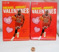 2 VTG Cleo MICHAEL JORDAN SCHOOL VALENTINES DAY CARDS BASKETBALL Chicago Bulls