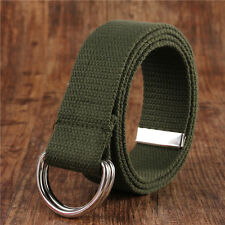 Ring Metal Buckle Fashion Waistband Sell Mens Womens Canvas Belt with Double D