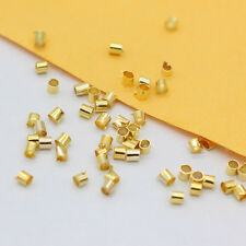 2x2mm gold/silver/bnz plated crimps stopper tubes beads end cap jewelry findings