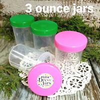 6 Plastic Polypro Clear Jar Bottle Pink & Green Caps  3 oz  5314 DecoJars USA