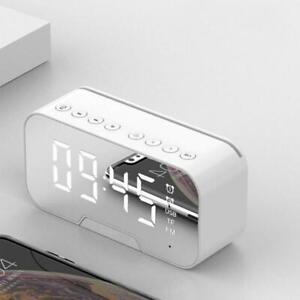 LED Radiowecker Bluetooth Funk Lautsprecher Uhrenradio Spiegelbildschirm Weiß