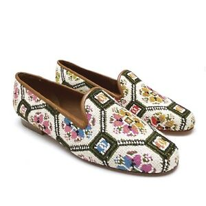 ZALO Womens Versailles Floral Print Needlepoint Smoking Loafers Size 8 NEW