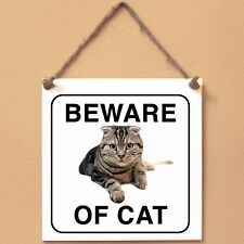 Scottish Fold Beware of cat Targa gatto cartello ceramic tiles