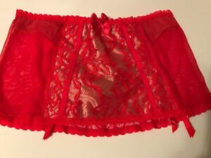 Victorias Secret Very Sexy Red Garter Skirt Lace Gold Inset NWT Small