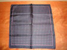 VTG Men's Silk Navy Blue Squares Design Made in Italy Pocket Square Handkerchief