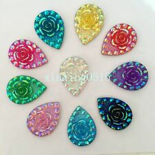 10PCS mix 18*25mm AB Drop Flatback Resin Rose Rhinestone Wedding Buttons 2 hole