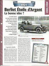 VOITURE BERLIET VF ETOILE D'ARGENT FICHE TECHNIQUE AUTOMOBILE 1921 COLLECTION
