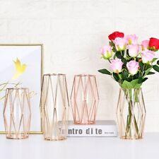 Creative Hydroponic Flower Vase Wrought Iron Geometric Design Tabletop Ornament