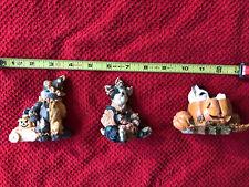 3 Halloween Animal Figurines One Boyd's bear, One enesco