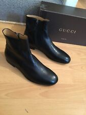 Gucci Mens Shoes Black Leather Chelsea Dealer Interlocking Boots Uk 7. Eu 41