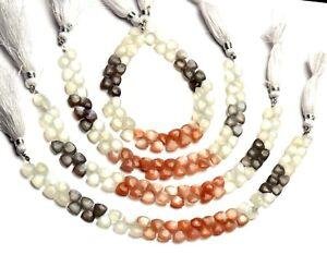"""Natural Gem Multi Color Moonstone Faceted 7MM Trillion Shape Briolette Beads 8"""""""