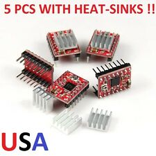5 PCS OF A RED STYLE A4988 STEPPER MOTOR DRIVER MODULES WITH HT-SINKS , USA !!