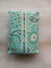 Tissue Packet Aqua Grey White Bandana Pocket Holder Fabric Cover Handmade