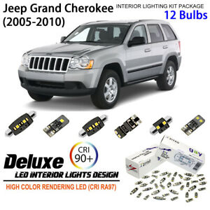 12 Bulbs Interior LED Light Kit White Dome Light for (WK) Jeep Grand Cherokee