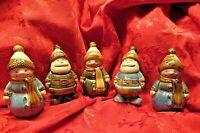 5 Vintage Santa, Snowman Christmas Figurines