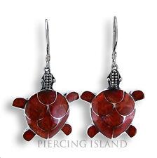 Rote Koralle Schildkröten Ohrringe Hänger Silber Schmuck Silver Earrings SER006c