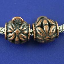 12pcs copper-tone flower bail charm fit bracelet h2160