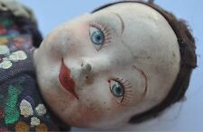 1920s Belgium Belgian Beautiful Papier-Mache Head Sewn Fabric Doll UNICA Marked