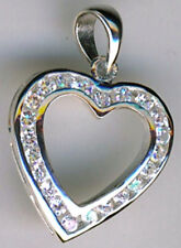 925 Sterling Silver Heart Pendant Clear Cubic Zirconia Open Pendant    27mm