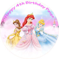 "DISNEY PRINCESS CAKE TOPPER EDIBLE PRINTED 8"" ROUND BIRTHDAY CAKE DECORATION"