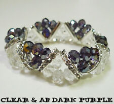MULTI CLR Crystal Brass Rhinestone Faceted Beads Stretch Bracelet BirthStone DIY