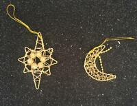 Pack of 10 Festive Golden Star and Moon Christmas Xmas Tree Hanging Decorations
