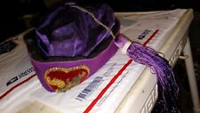 vintage Purple ELKS club capi / cap with tassel & emblem, size 7 3/8; FAST S&H