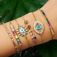 Charm Women CZ Rainbow Turkish Evil Eye Bracelet Adjustable Anklet Jewelry Gifts