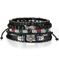 4pcs Men's Women's Retro Leather Dumbbells Beaded Bracelet Cuff Set Adjustable