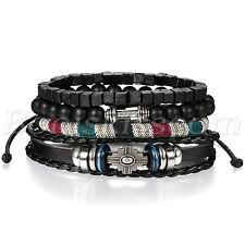 4pcs Men's Women's Retro Leather Dumbbells Beaded Bracelet Cuff Set Adjustable