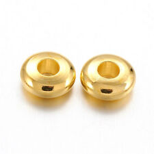 500pcs Gold Plated Brass Abacus Metal Beads Smooth Spacers Findings Craft 5x2mm
